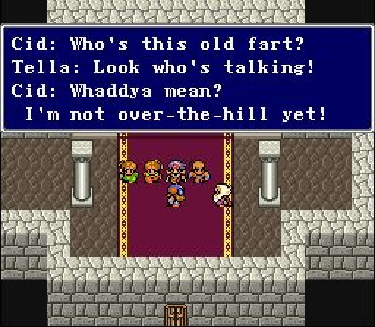 I think the PlayStation translation uses 'old fart' too. I sometimes wonder if there's some connection between this patch and the PlayStation translation, actually.
