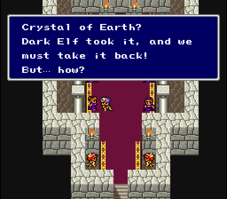 I wonder how the Dark Elf stole the crystal in the first place. These fighting dancers must be sucky if they can't stop one creature. And you'd think they'd all be talking about their fight with it, but nope