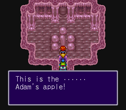 First, it should be 'uvula', second, calling it the Adam's apple has the odd result of connecting this fictional world with Biblical stories from the real world - you'd have to do some fiddling with the unwritten history of the game's world to make this work properly