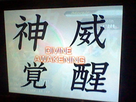 """The English text on here is mostly right, although the kanji gives it more of a """"godly might"""" feeling than """"divine""""."""