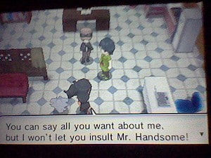 You can say all you want about me, but I won't let you insult Mr. Handsome!
