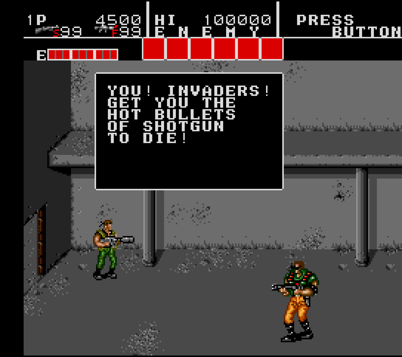 You! Invaders! Get you the hot bullets of shotgun to die!