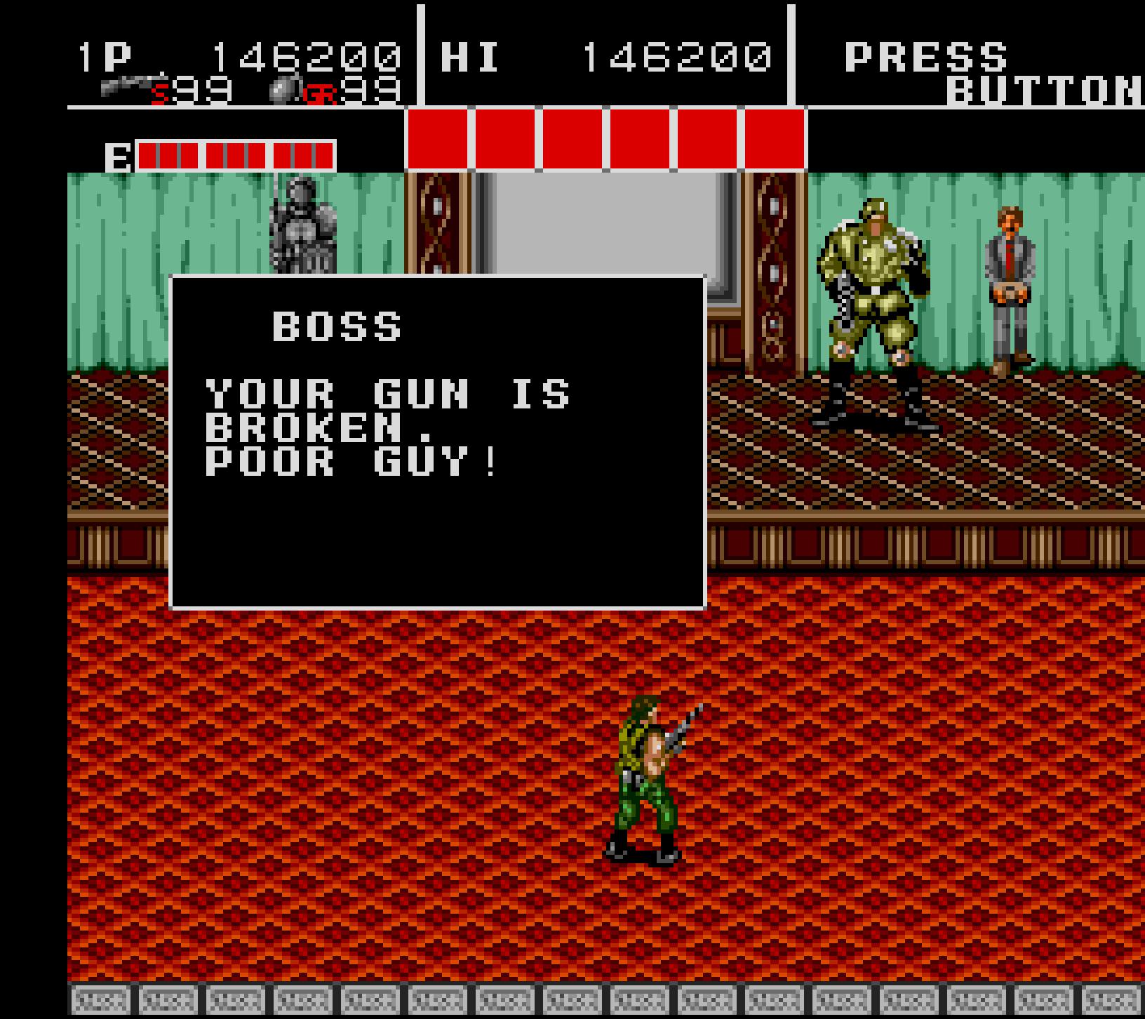 Your gun is broken. Poor guy!