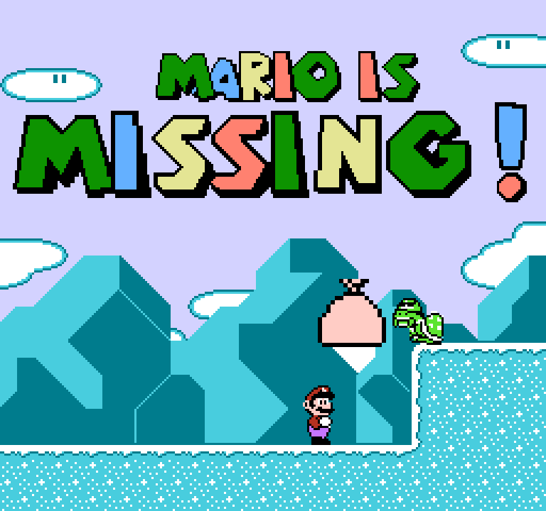 NES title screen - something (is that Bowser???) throws a bag at Mario