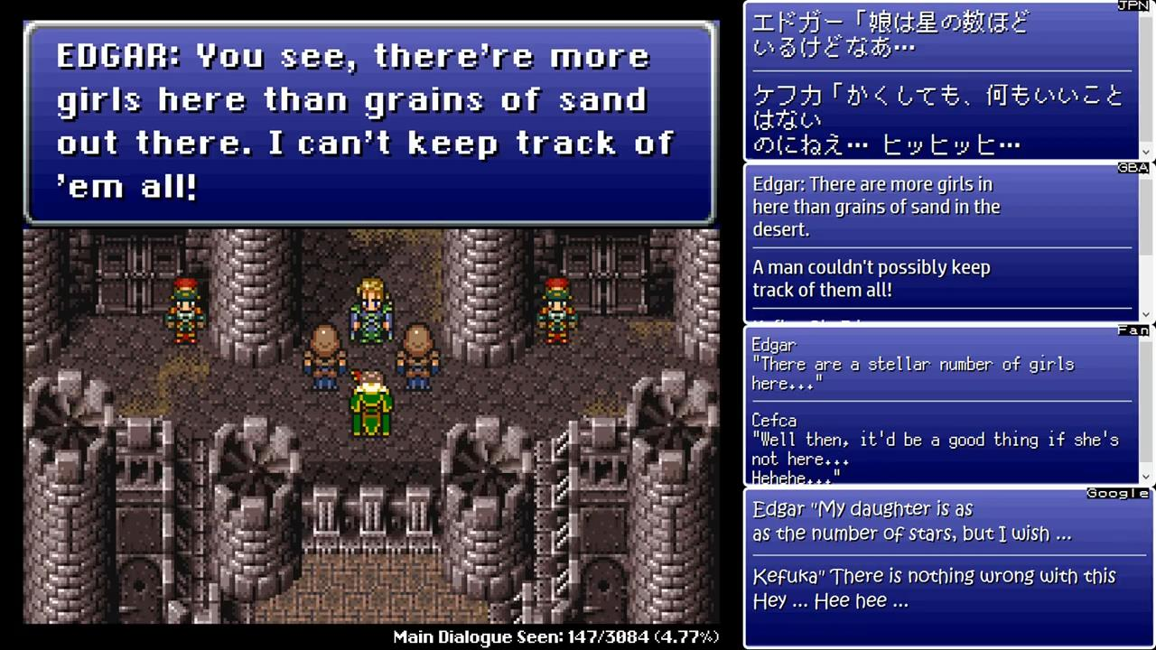 """In Japanese, Edgar literally says """"there are more girls here than there are  stars"""". The SNES translation changes this in a way that better fits the ..."""