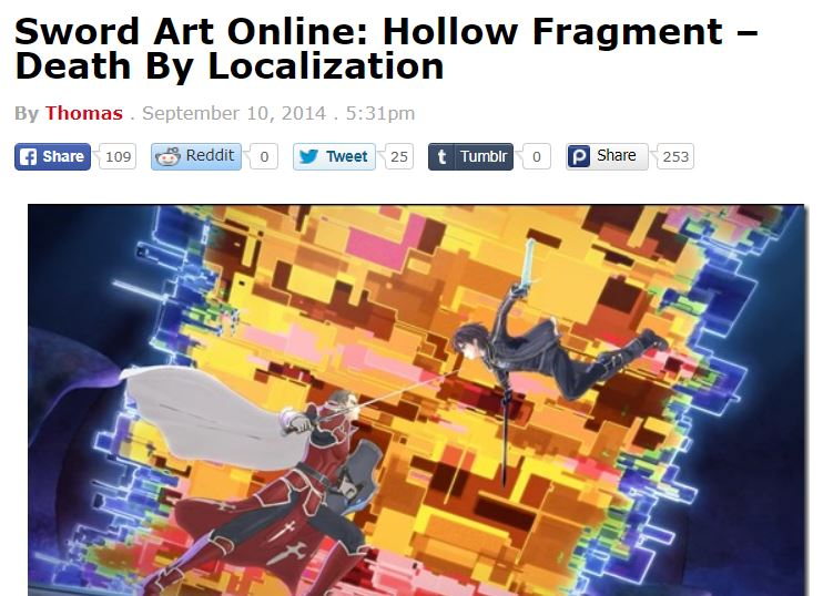 This Be Bad Translation #13, Sword Art Online: Hollow Fragment