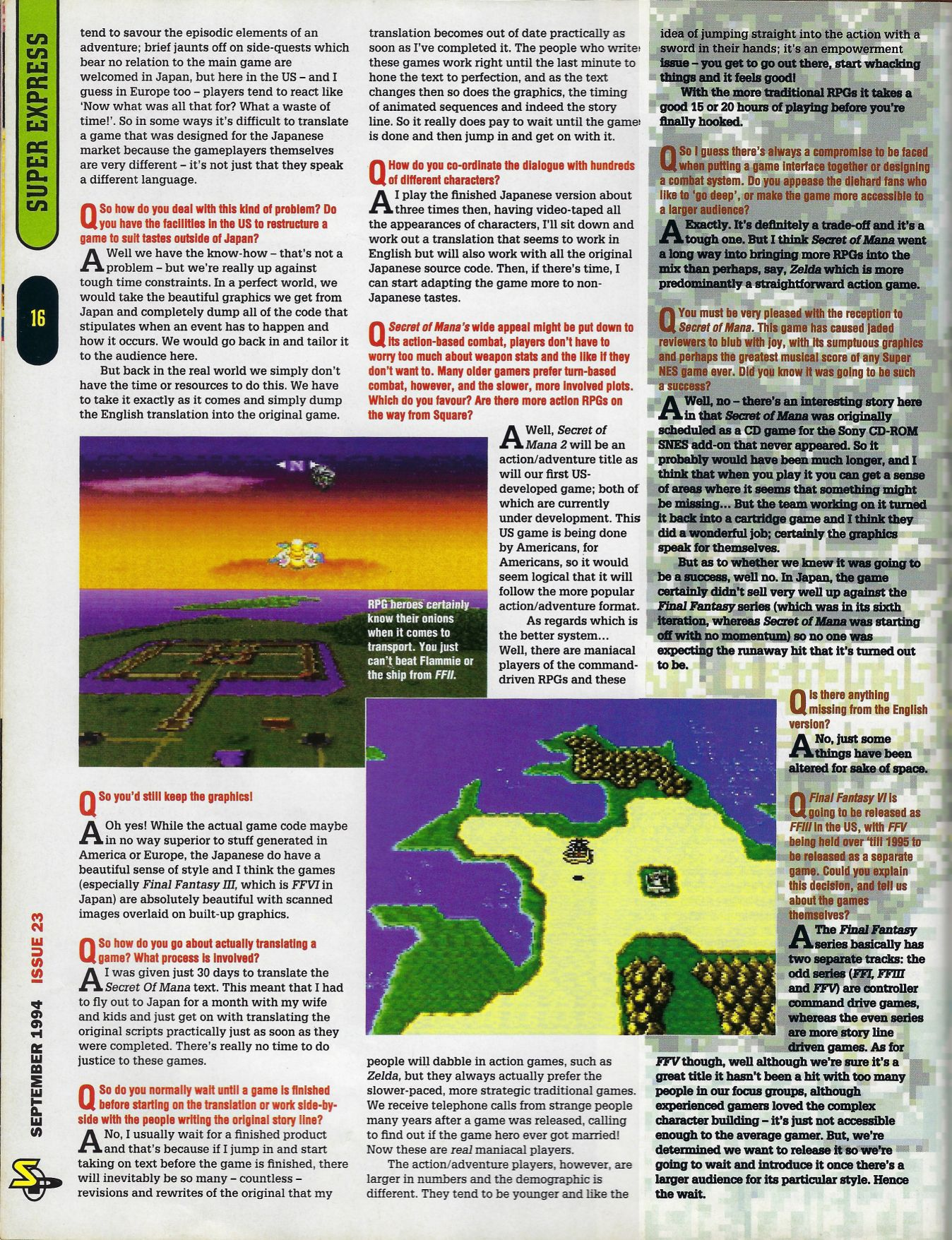 Interview: Ted Woolsey (Super Play Magazine, Sep  1994